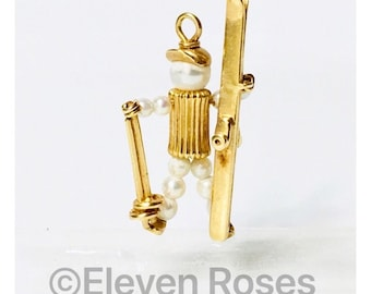 Large Solid 585 14k Gold & Pearl Ski Figure Pendant Free US Shipping