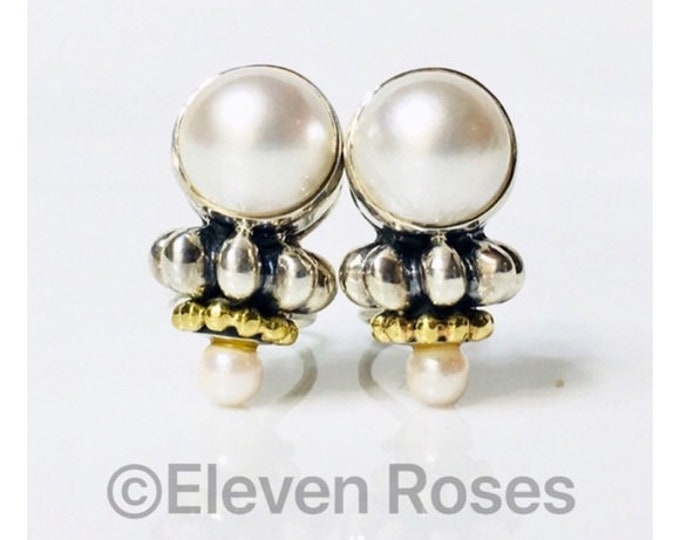 Vintage Classic Lagos Caviar Extra Large Mabe Pearl Drop Earrings 925 Sterling Silver 750 18k Gold Free US Shipping