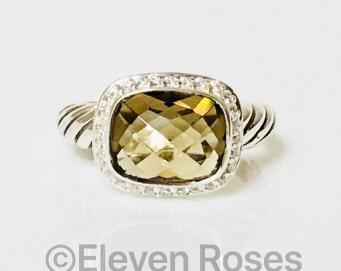David Yurman Smoky Quartz & Diamond Noblesse Ring 925 Sterling Silver Free US Shipping