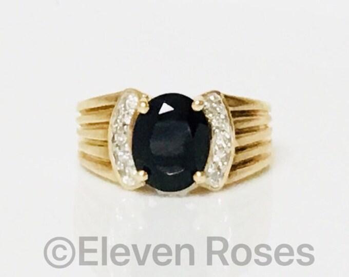 10k Gold Black Onyx & Diamond Ring Free US Shipping