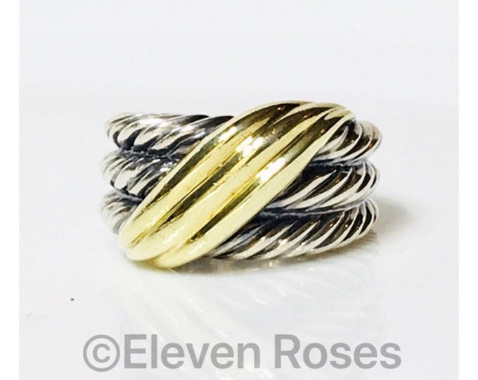David Yurman Classic Cable Triple Row Wide Crossover Wave Ring DY 925 Sterling Silver 585 14k Gold Free US Shipping
