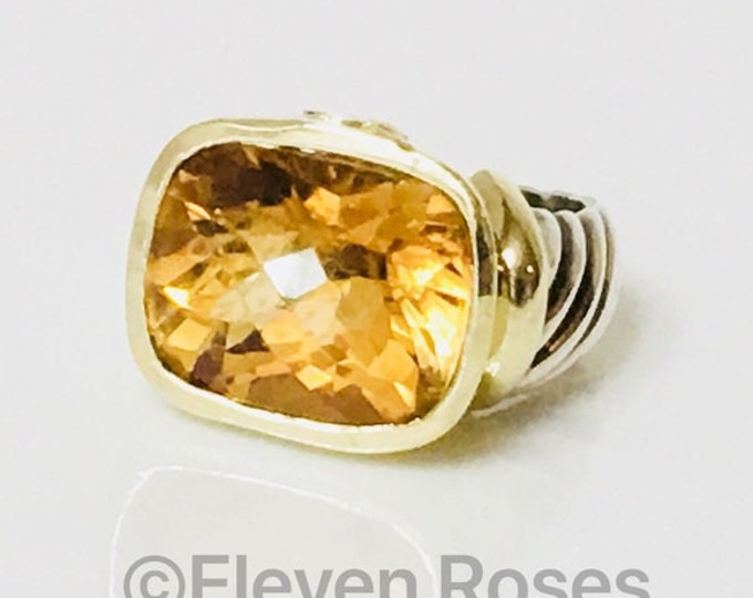 David Yurman Large Citrine Noblesse Statement Ring 925 Sterling Silver & 585 14k Gold Free US Shipping