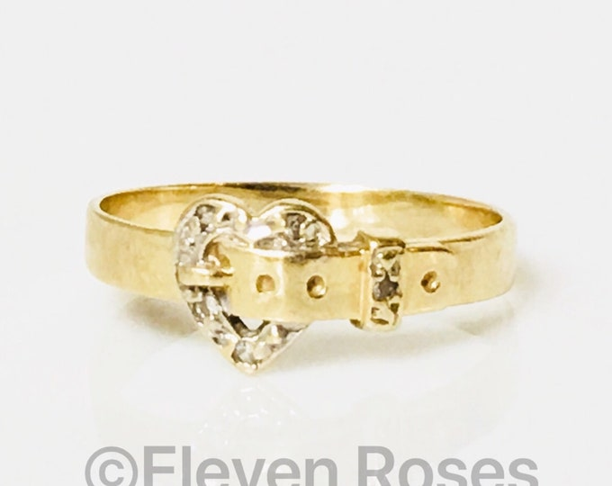 Victorian 10k Gold Diamond Heart Buckle Sweetheart Engagement Ring Free US Shipping