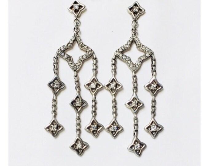 David Yurman Quatrefoil Diamond Chandelier Earrings 925 Sterling Silver 585 14k Gold Free US Shipping