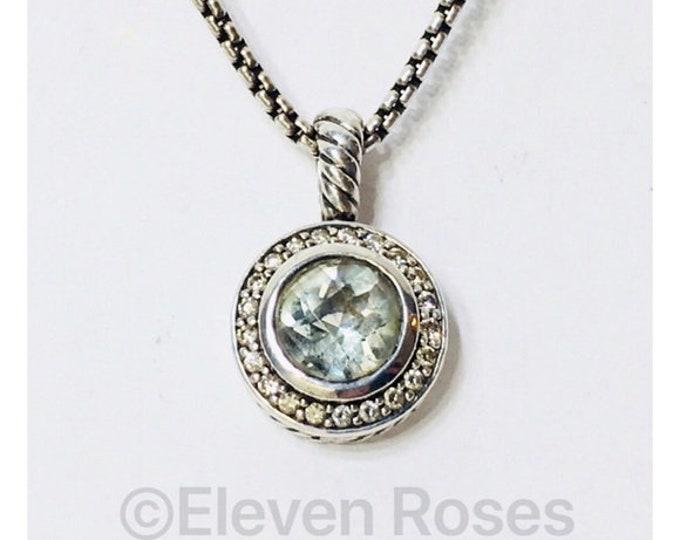 David Yurman Prasiolite Diamond Cerise Halo Pendant Box Chain Necklace DY 925 Sterling Silver Free US Shipping