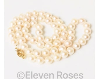 14k Gold Classic Pearl Strand Necklace Free US Shipping