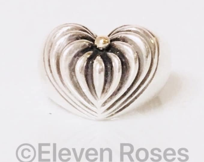 Lagos Caviar Large Classic Fluted Heart Statement Ring 925 Sterling Silver 750 18k Gold Free US Shipping