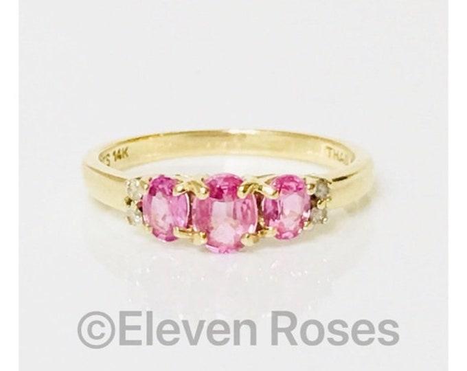 14k Gold Pink Sapphire & Diamond Anniversary Band Stacking Ring Free US Shipping