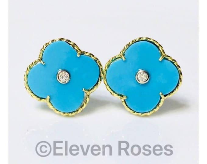 MAZ 750 18k Gold Turquoise Diamond Clover Earrings Free US Shipping