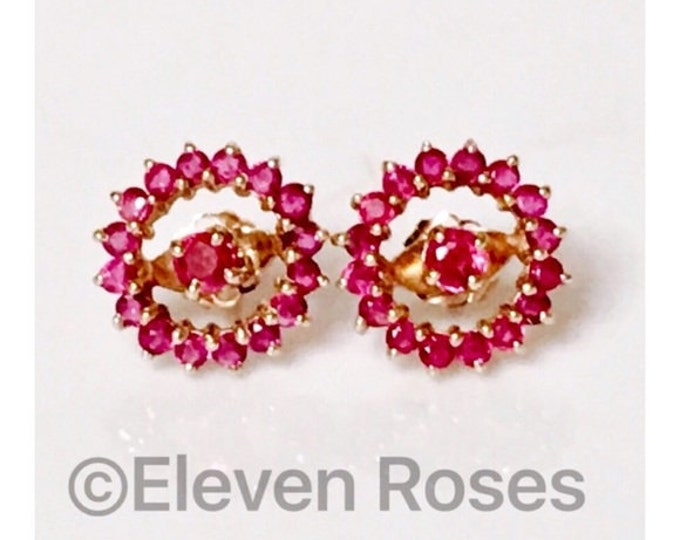 14k Gold Ruby Stud Earrings with Halo Enhancer Jackets Free US Shipping