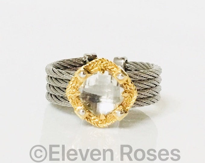 Charriol White Topaz 4 Row Cable Cuff Ring Steel & 750 18k Gold Free US Shipping