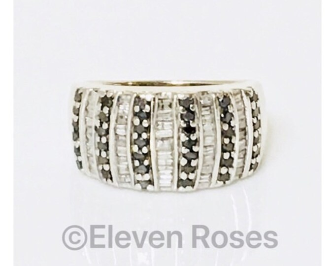 10k Gold Black & White Diamond Dome Band Ring Free US Shipping