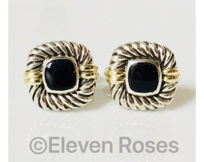 David Yurman Classic Cable Black Onyx Cufflinks Cuff Links DY 925 Sterling Silver Free US Shipping
