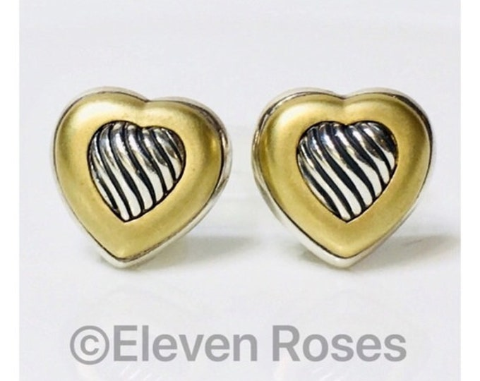 David Yurman 925 Sterling Silver 750 18k Yellow Gold Classic Carved Cable Heart Earrings Free US Shipping