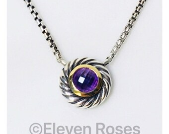 David Yurman Amethyst Cable Classics Cookie Box Chain Necklace DY 925 Sterling Silver 750 18k Gold Free US Shipping