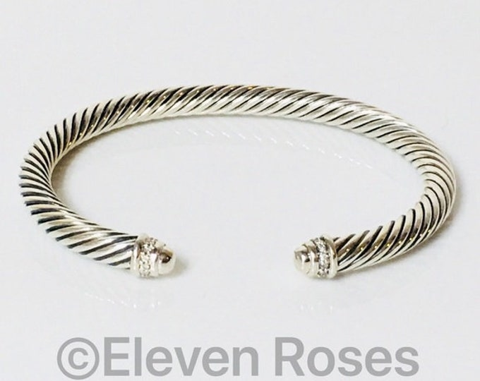 David Yurman Cable Classics Diamond Cuff Bracelet DY 925 Sterling Silver Free US Shipping