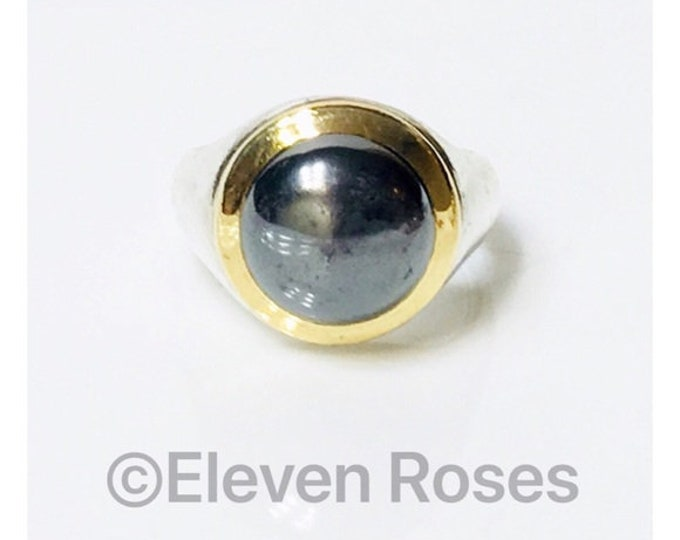 Vintage Tiffany & Co. Hematite Ring 925 Sterling Silver 750 18k Gold Free US Shipping