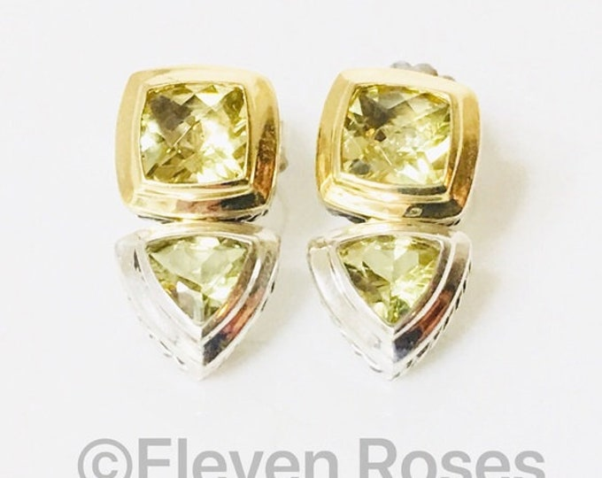 David Yurman Prasiolite Citrine Renaissance Drop Earrings 925 Sterling Silver & 750 18k Gold Free US Shipping