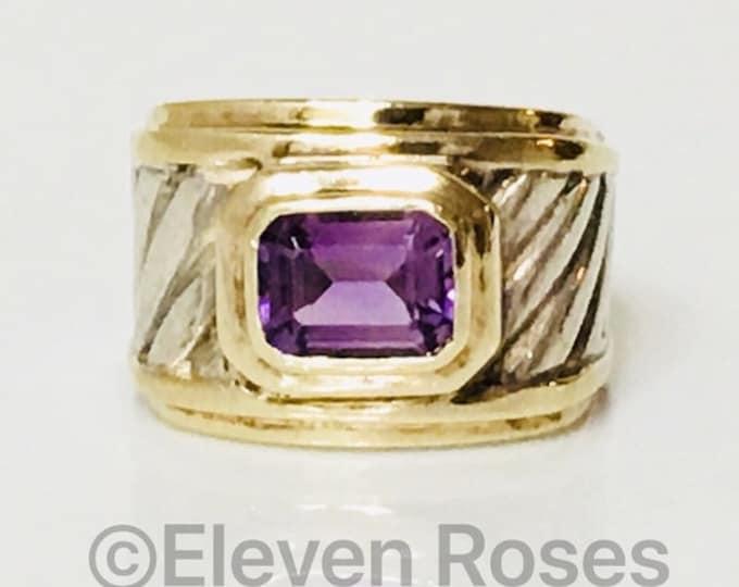 David Yurman Amethyst Wide Cigar Band Ring 925 Sterling Silver & 585 14k Gold Free US Shipping