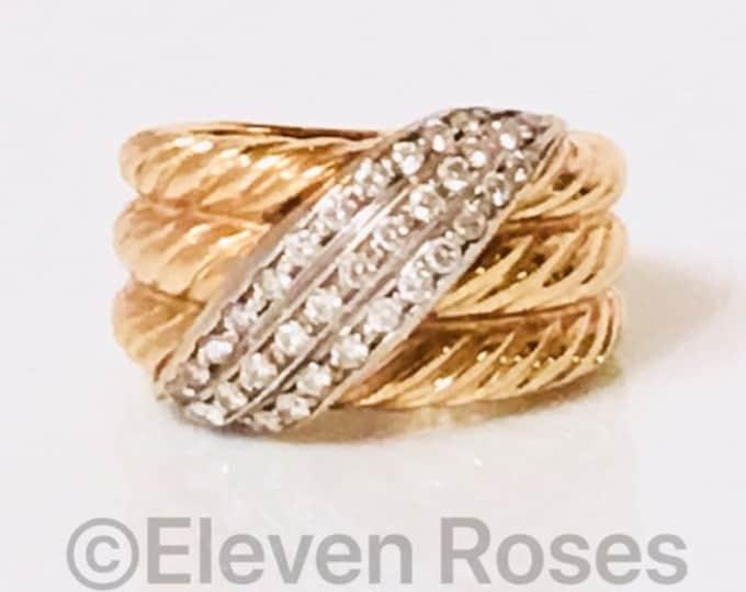David Yurman Solid 750 18k Gold Diamond Double Crossover Ring Free US Shipping