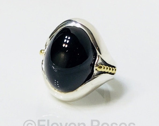 Lagos Caviar Black Onyx Oval Statement Ring 925 Sterling Silver 750 18k Gold Free US Shipping