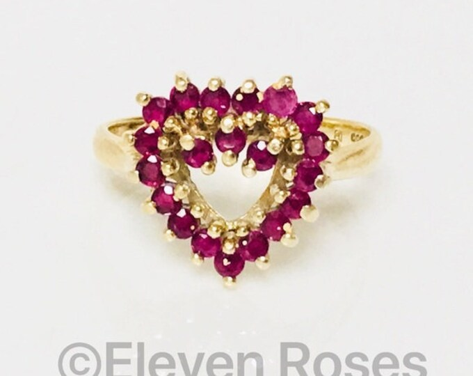 Vintage 585 14k Gold Ruby Heart Ring Free US Shipping