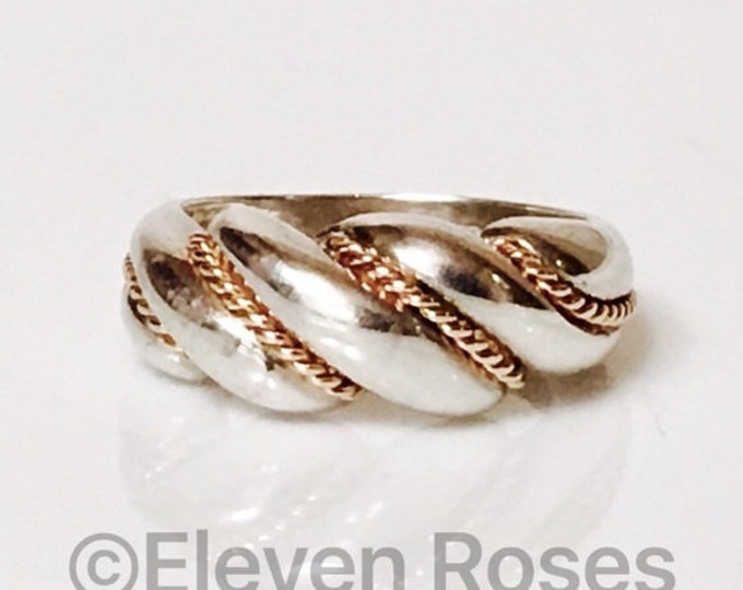 Designer 925 Sterling Silver 14k Gold Milgrain Rope Ribbed Dome Shrimp Ring Free US Shipping