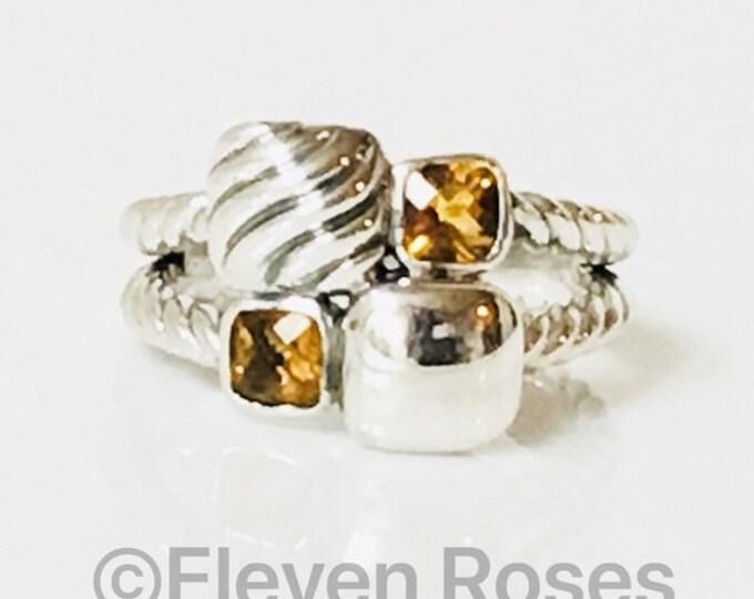 David Yurman Citrine Chiclet Mosaic Ring DY 925 Sterling Silver Free US Shipping