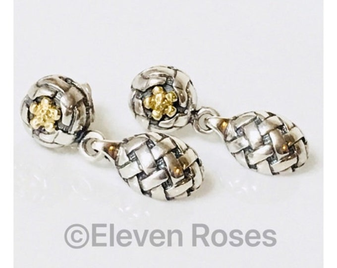 Saint Sarah Jane Tuileries Mabel Blossom Drop Dangle Earrings 925 Sterling Silver 750 18k Gold Free US Shipping
