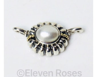 Lagos Caviar Pearl C Clasp Enhancer Pendant 925 Sterling Silver 750 18k Gold Free US Shipping