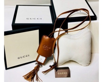 Gucci 1921 Leather Pendant Necklace Pockeet Watch Free US Shipping