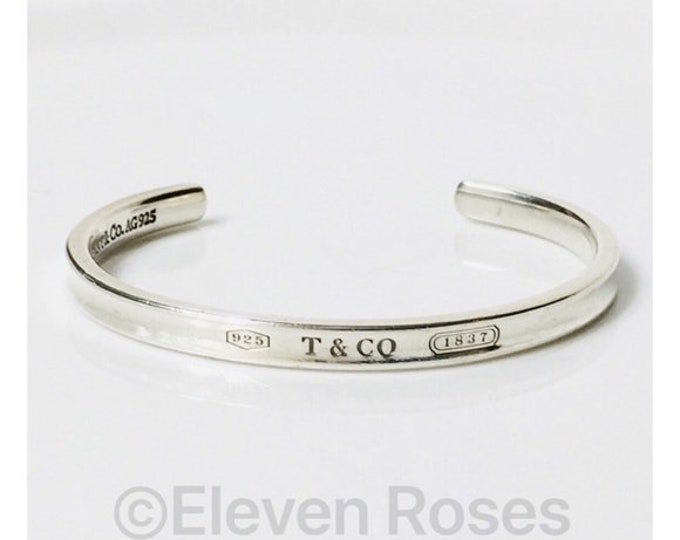 Tiffany & Co 1837 Cuff Bracelet 925 Sterling Silver Free US Shipping