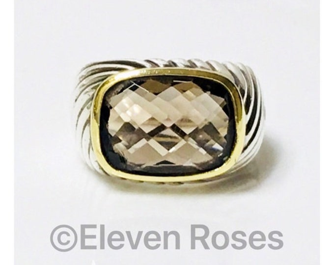 David Yurman Large Smoky Quartz Ring 925 Sterling 750 18k Gold Free US Shipping