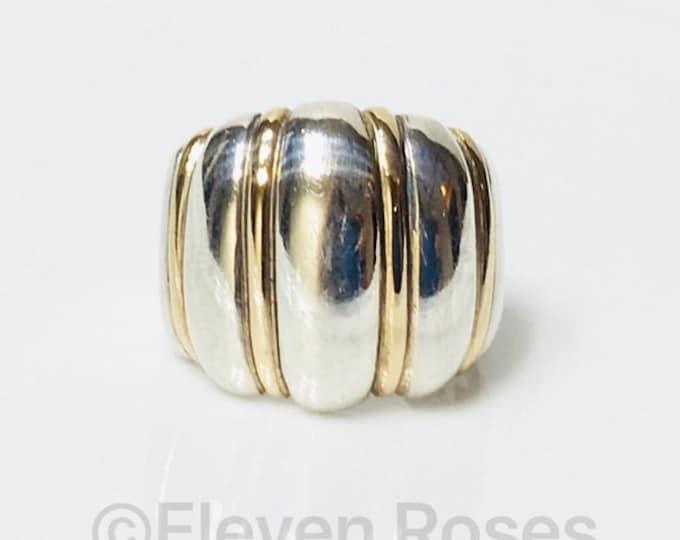 Kabana Dome Ring 925 Sterling Silver 14k Gold Free US Shipping