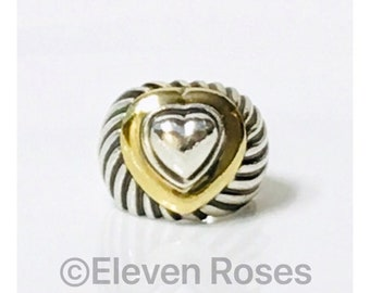David Yurman Extra Large Cable Heart Dome Ring 925 Sterling Silver 750 18k Gold Free US Shipping