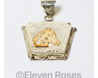 Extra Large Navajo Alonzo Mariano Horse Pendant 925 Sterling Silver & 12k Gold Free US Shipping