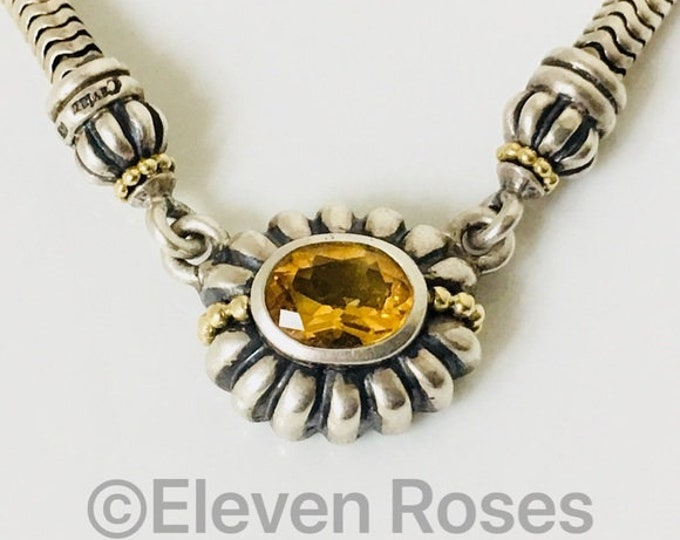 Lagos Caviar Citrine Fluted Pendant Statement Necklace 925 Sterling Silver 750 18k Gold Free US Shipping