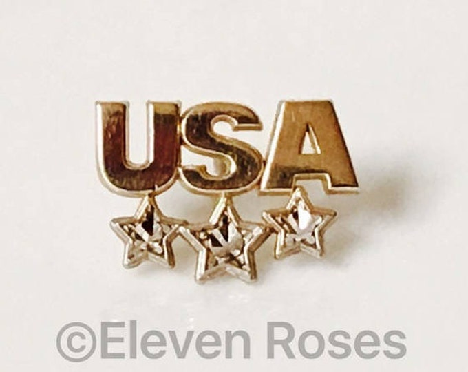 10k Gold USA Tack Pin Tie Tac Diamond Cut Design Free US Shipping
