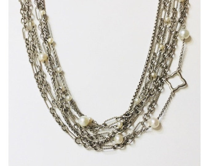 David Yurman Quatrefoil Pearl Station Multi Chain Toggle Necklace  925 Sterling Silver Free US Shipping