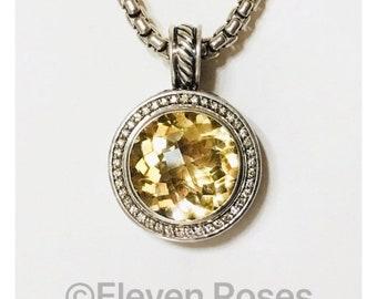David Yurman Large Citrine & Diamond Cerise Enhancer Pendant Box Chain Necklace DY 925 Sterling Silver Free US Shipping