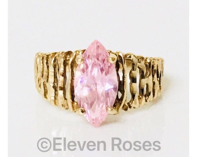 Vintage 10k Gold Pink Morganite CZ Stone Ring Free US Shipping