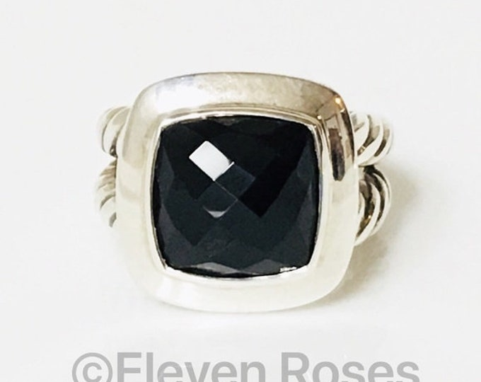 David Yurman Black Onyx Albion Ring 925 Sterling Silver Free US Shipping