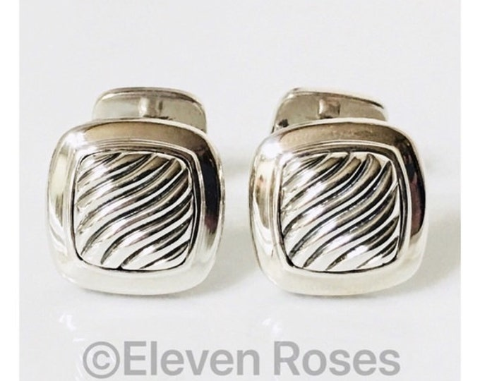 David Yurman Classic Cable Cufflinks Cuff Links DY 925 Sterling Silver Free US Shipping