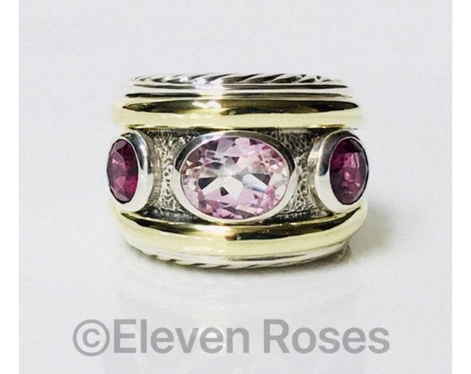 David Yurman Morganite Pink Tourmaline Three Stone Renaissance Ring 750 18k Gold DY 925 Sterling Silver Free US Shipping