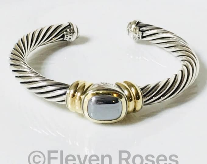 David Yurman 7mm Hematite Noblesse Cable Cuff Bracelet 925 Sterling Silver & 585 14k Gold Free US Shipping