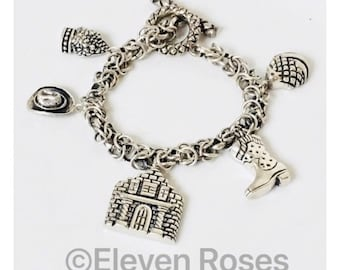 Dian Malouf Multi Charm Toggle Chain Bracelet 925 Sterling Silver Free US Shipping