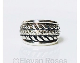 David Yurman Wide Double Cable Diamond Cigar Band Ring 925 Sterling Silver Free US Shipping