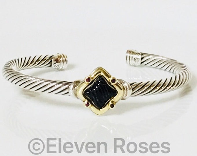 David Yurman Onyx & Ruby Quatrefoil Cable Cuff Bracelet DY 925 Sterling Silver 750 18k Gold Free US Shipping