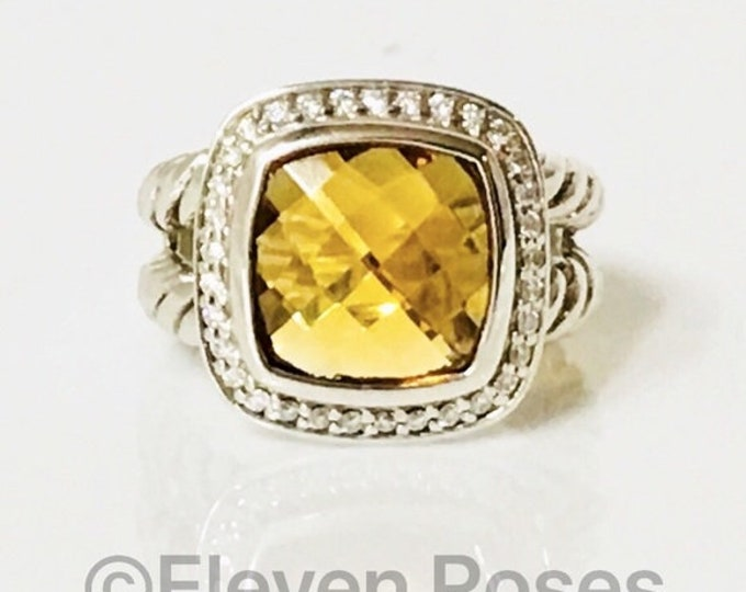 David Yurman Golden Citrine & Diamond Albion Ring 925 Sterling Silver Free US Shipping