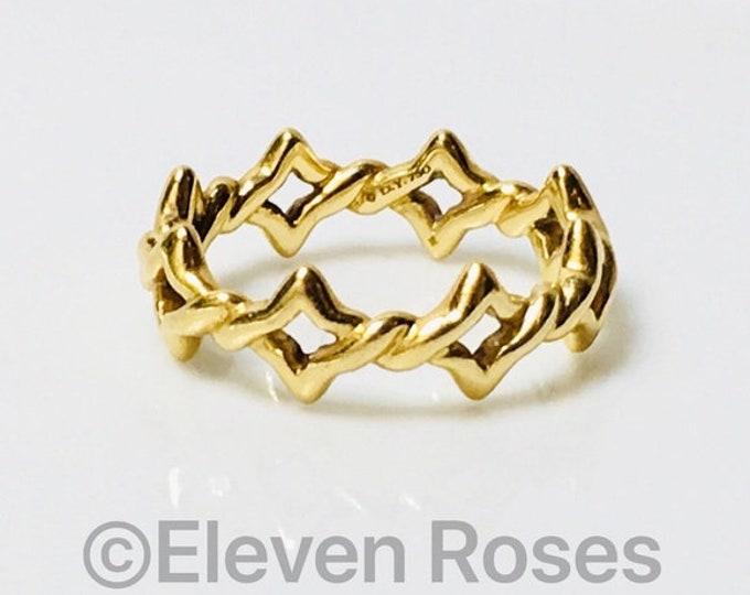 David Yurman Solid 750 18k Gold Quatrefoil Eternity Band Ring Free US Shipping